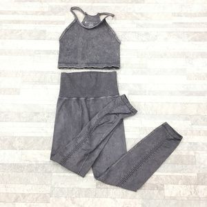 New Free People Movement Happiness Gray 2pc Set